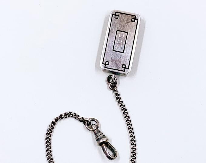 Vintage Silver Art Deco Pocket Watch Fob   Sterling Belt Watch Chain Fob   E.J.B. Co Fob