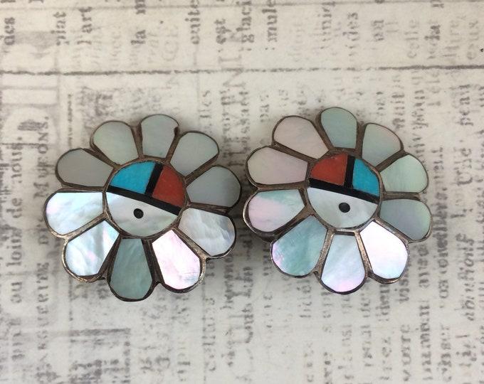 Vintage Zuni Sun Face Inlay Earrings | Multi Stone Inlay Earrings