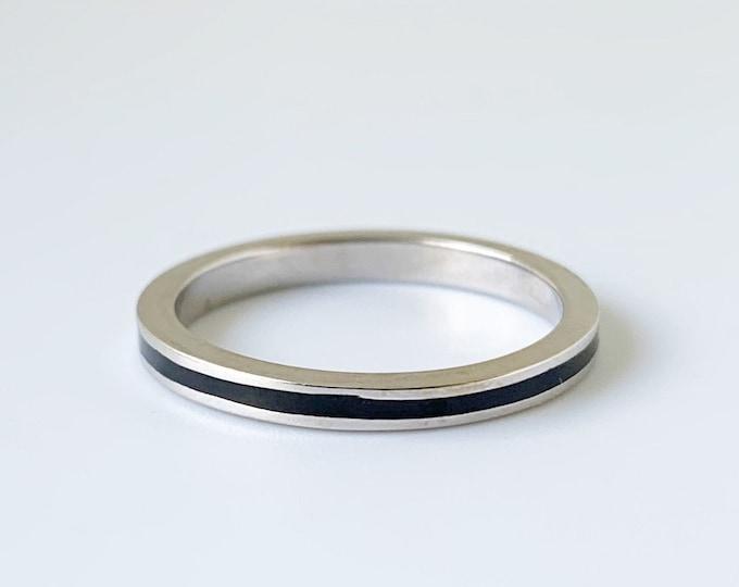 White Gold Hidalgo Black Enamel Ring   Hidalgo Stackable 18k Guard Ring  Size 5 1/4 Ring