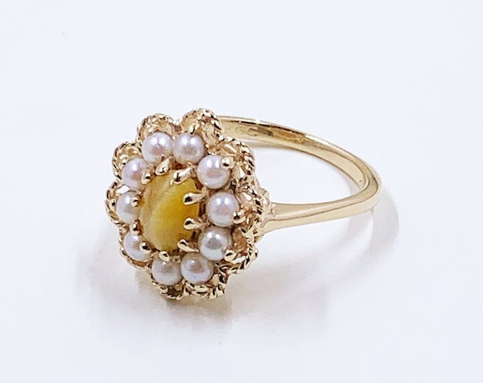 Vintage Gold Tiger's Eye and Pearl Halo Ring | 14K Gold Halo Flower Ring | KGC Ring | Size 7 1/4