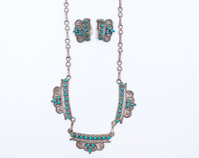 Vintage Snake Eye Turquoise Choker Necklace and Earrings Set