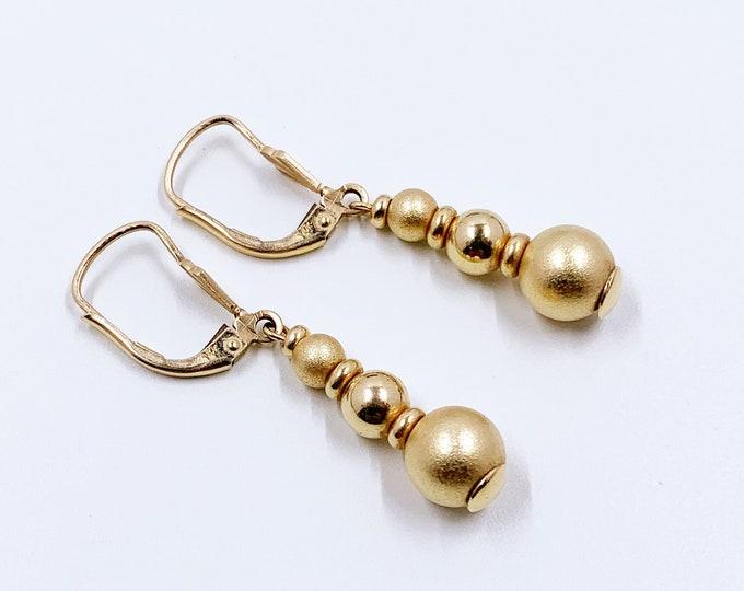 Vintage 14K Gold Bead Drop Earrings | 14K Classic Gold Earrings