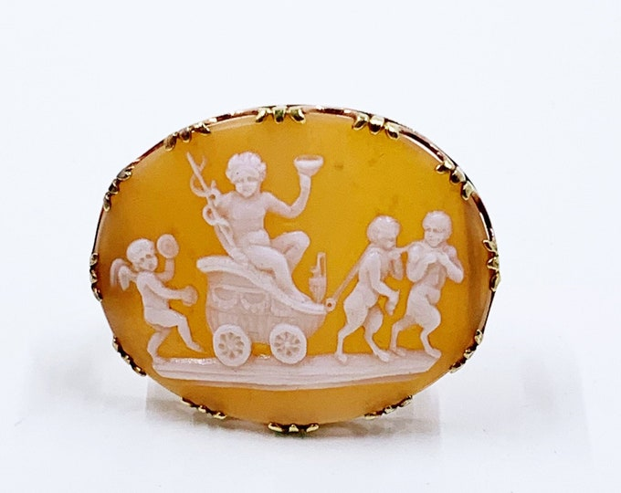 Antique 18k Shell Cameo Mythological Scene Brooch | The Triumph of Bacchus Cameo | Pictorial Mythology Cameo Brooch