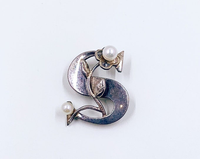 Vintage Silver Initial S Brooch | Silver and Pearls Floral Monogram Letter S Brooch | Alphabet Letter S
