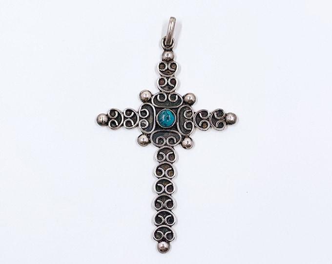Vintage Mexican Silver Filigree Cross Pendant | Mexican Silver Faux Turquoise Cross