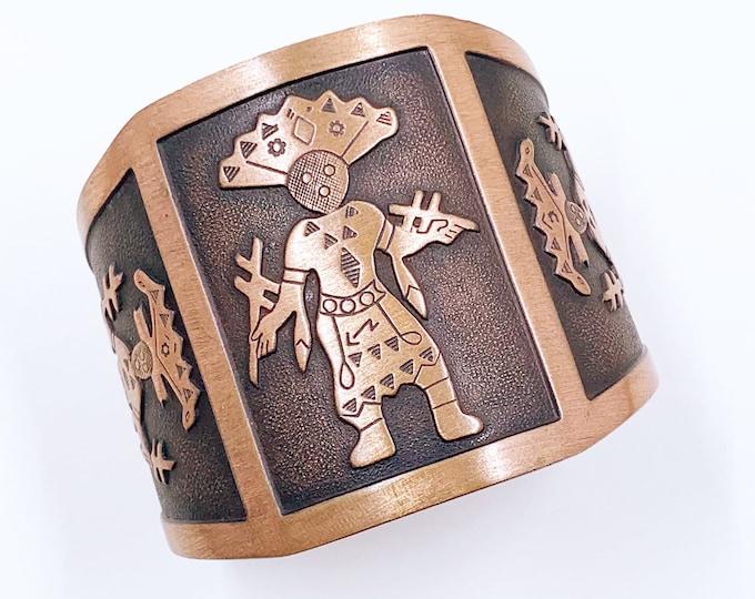 Vintage Copper Kachina Dancer Wide Cuff | WM Wheeler Co Cuff Bracelet | Southwestern Bracelet