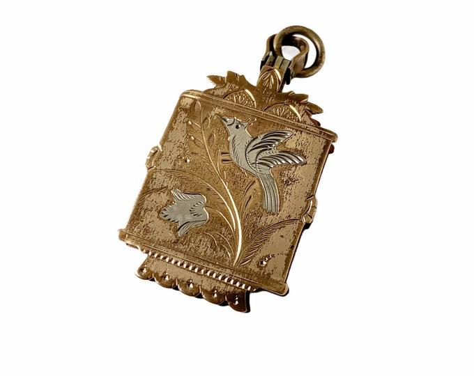 Victorian Aesthetic Bird Locket | Antique Gold Filed Locket