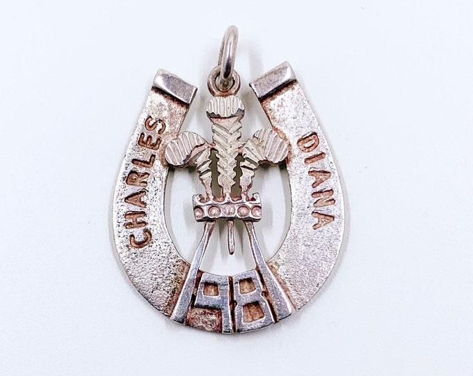 Vintage Silver Charles and Diana Pendant | CHARLES & DIANA Wedding Commemorative Pendant | The Royal Wedding 1981