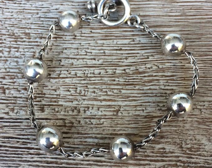 Vintage Silver Ball Toggle Bracelet |  Ilaria 925