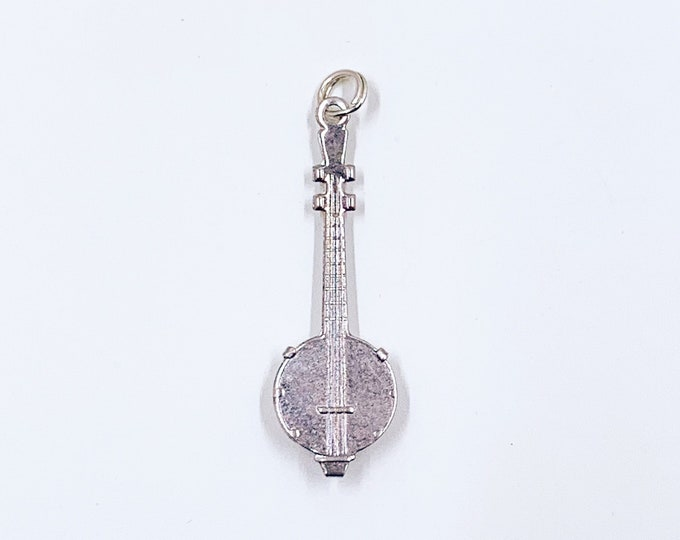 Vintage Silver Banjo Charm | Musical Instrument Jewelry | Sterling Silver Banjo Pendant