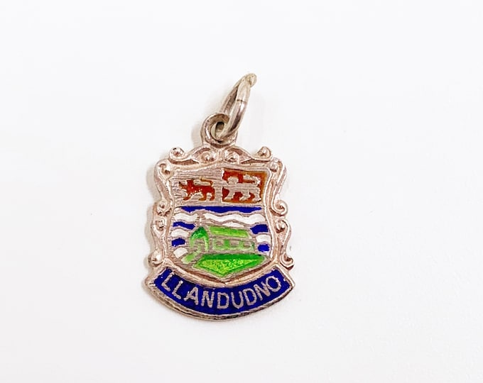 Vintage Silver Llandudo Wales Enamel Shield Charm | Vintage UK Enamel Travel Shield Charm