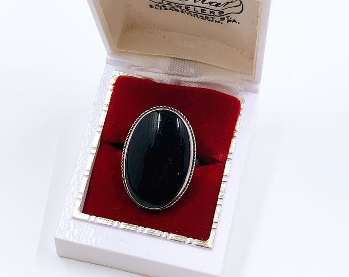 Sterling Art Deco Onyx Ring | Silver Large Oval Onyx Ring