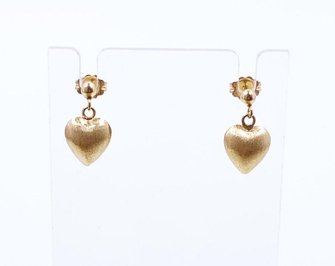 Vintage Gold Heart Drop Earrings | Classic Heart Earrings | Dainty 14K Heart Earrings