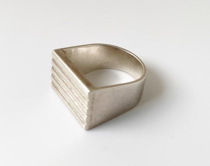 Vintage Silver Joaquin Tinta Modernist Ring | Taller Tinta Silver Ring | Size 5 1/2 Ring
