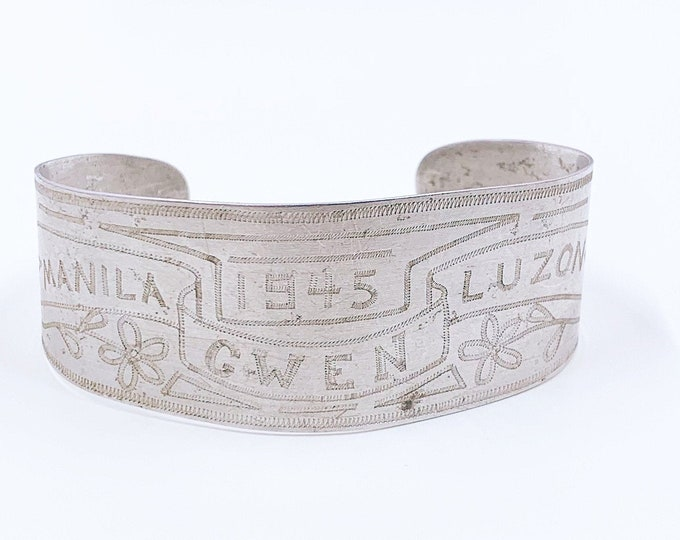 Philippines WWII Sweetheart Bracelet | 1945 Philippine Campaign | Manila Luzon Sweetheart Cuff |  US Soldier Art