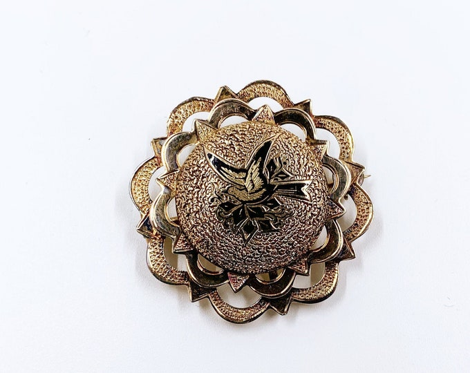 Antique Victorian Taille D'Epargne Brooch |  Black Enamel Gold Brooch |  10k Gold Taille D'Epargne Bird Brooch Pin