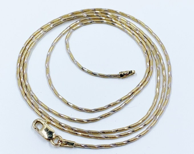 Vintage 14k Two-Tone Gold Snake Chain | 24 3/8 inches Gold Chain | 1 mm Gold Chain