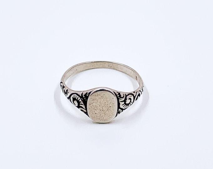 Vintage Silver Signet Ring | Vintage Silver Engraved Ring | US Size 5 1/4 Ring