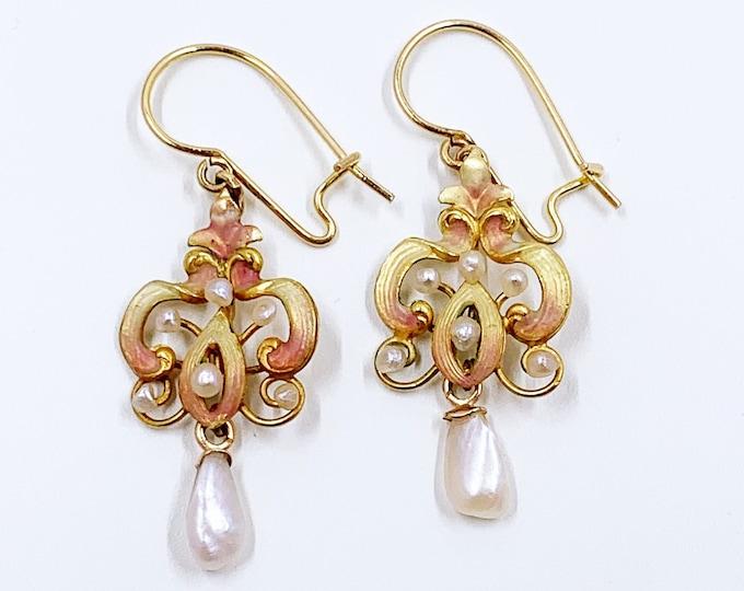 Antique Gold Art Nouveau Enamel and Pearl Earrings | 14k Gold Enamel Earrings | Baroque Pearl Earrings | 14k Gold Dangle Earrings