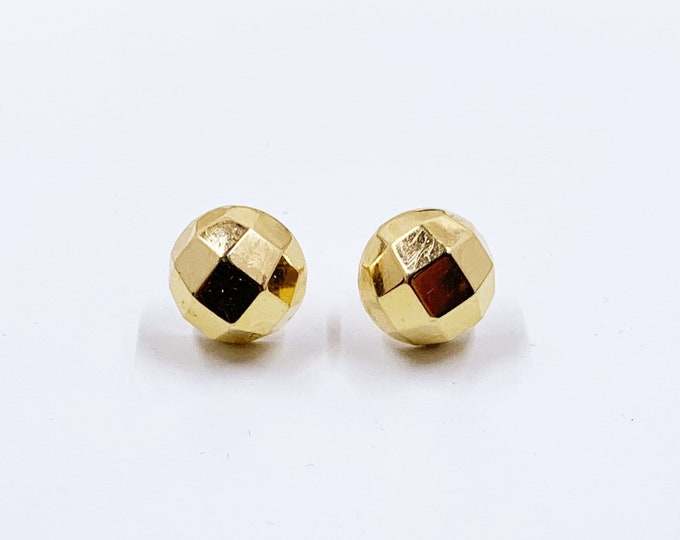 Vintage Carla Gold Faceted Half Ball Stud Earrings | Yellow Gold Half Disco Ball Stud Earrings | Classic 14K Gold Earrings