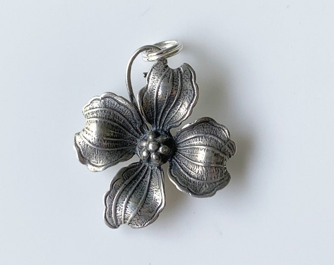 Vintage Dogwood Flower Charm | Silver Dogwood Charm