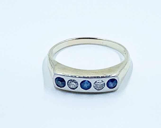 5 Stone Diamond and Sapphire Ring | White and Yellow Gold Stackable 15k Ring | Size 5.75 Ring