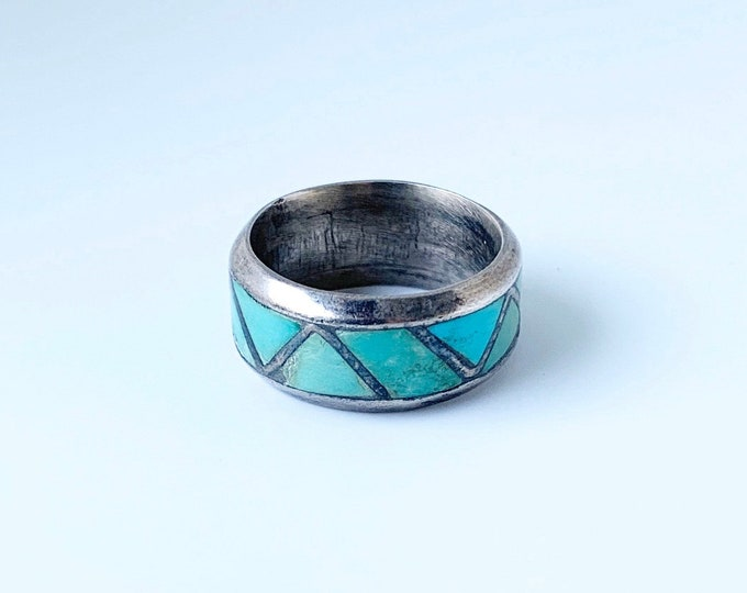 Vintage Turquoise Inlay Ring | Silver Turquoise Inlay Band | Size 6 1/4