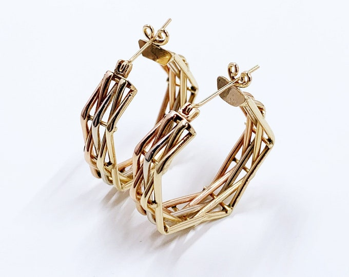 Vintage 14k Gold Woven Hoop Earrings | Tri Color Gold Lattice Weave Hoops | Tri Tone Hoop Earrings