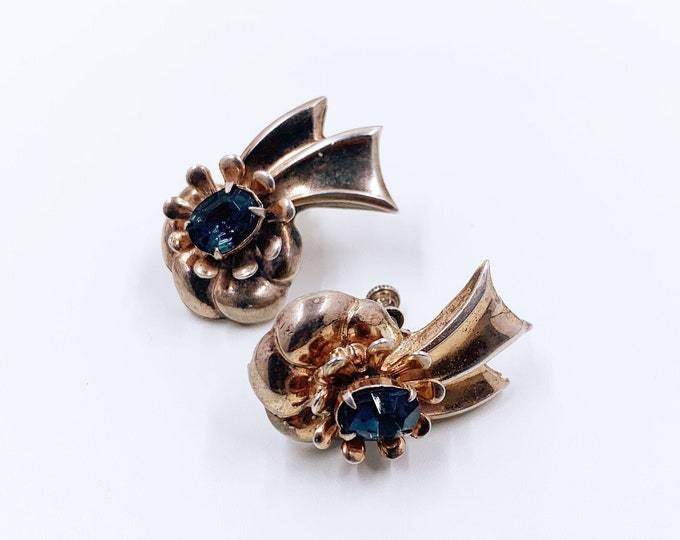 Vintage Sterling Silver Flower and Ribbon Earrings | Retro Earrings | Blue Rhinestone