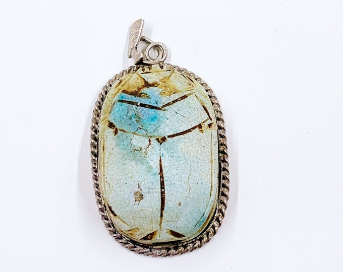 Vintage Egyptian Scarab and Nefertiti Pendant | Large Carved Stone Scarab | Carved Scarab Beetle Silver Pendant