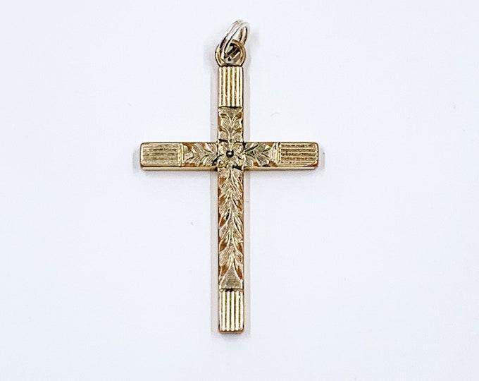 Vintage Engraved Floral Gold Cross Charm | 1/20 12k Gold Filled Cross Pendant