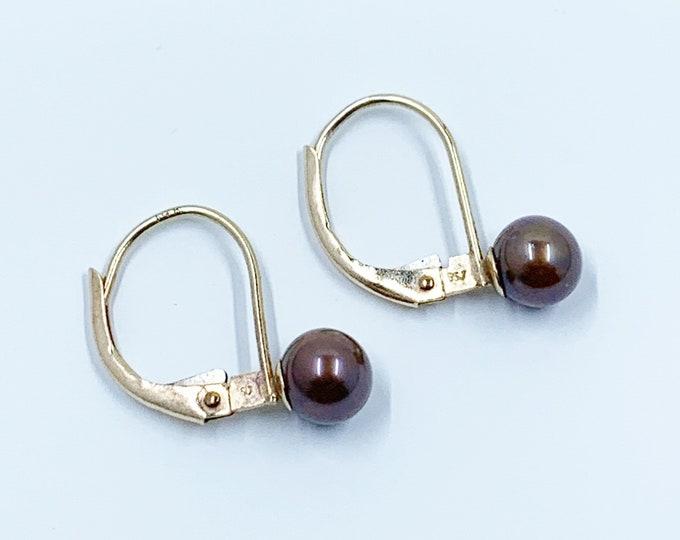 Vintage Gold Pearl Earrings | Chocolate Grey Pearl Earrings | Lever Back