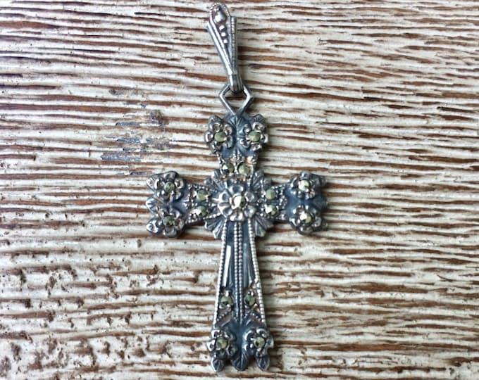 Vintage Sterling Silver Cross Pendant | Marcasite Cross