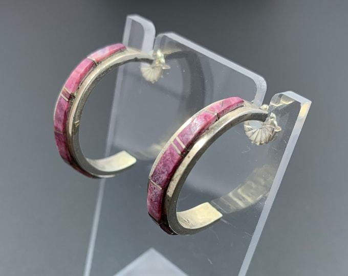 Vintage Sterling Purple Spiny Oyster Inlay Earrings | Purple Open Hoop Earrings