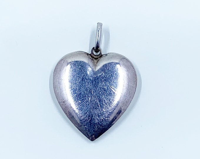 Vintage Silver Heart Pendant   Large Heart Pendant   Engravable Heart Charm