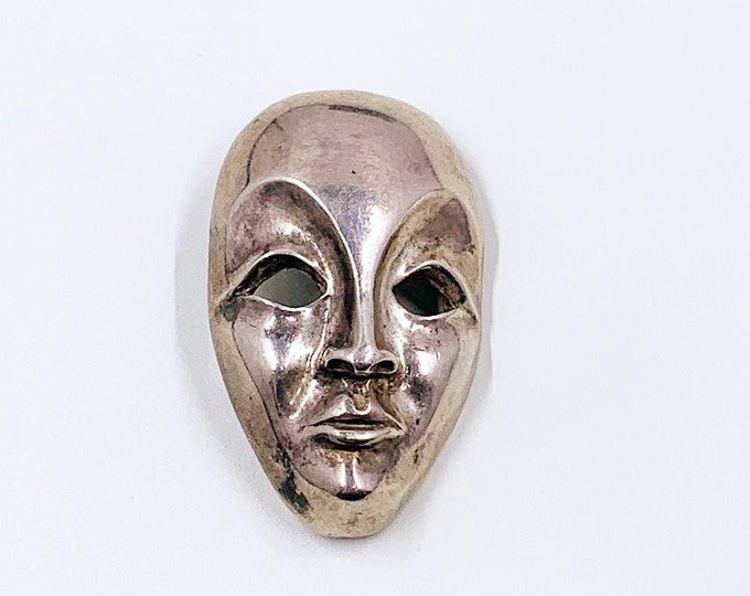 Vintage Silver Modernist Face Brooch | Modernist Silver Mask Brooch and Pendant | 3D Figural Face Brooch