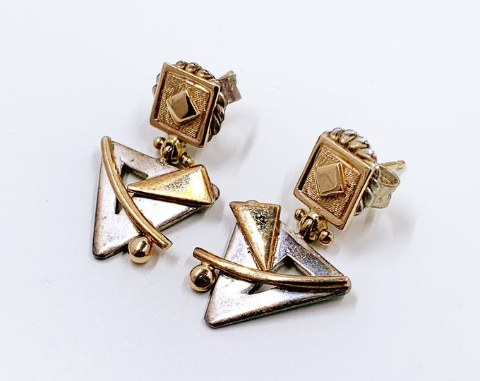 Reserved for Tanner-Vintage Sterling and 14k Gold Modernist Earrings | Silver and Gold Triangle Earrings | Geometric Mixed Metal Earrings