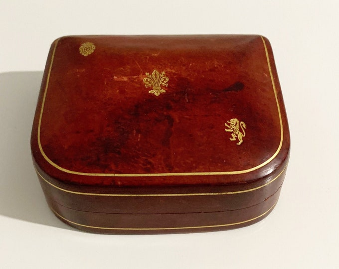 Vintage Red Leather Jewelry Box | Leather and Velvet Jewelry Box