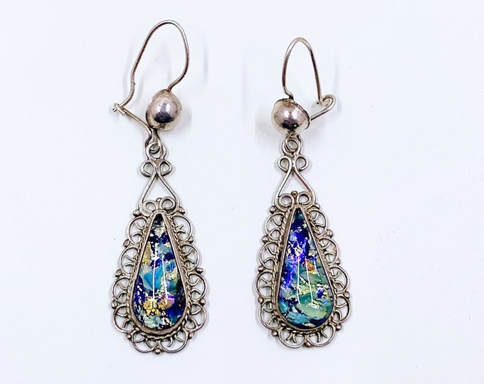 Vintage Mexican Silver Harlequin Foiled Glass Earrings   Vintage Silver Rainbow Glass Filigree Earrings