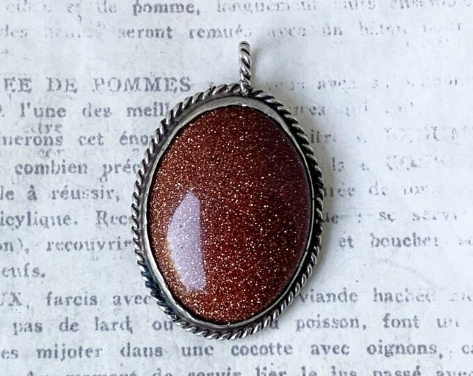 Vintage Silver Goldstone Pendant