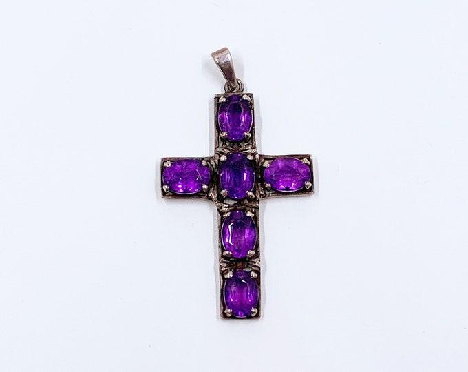 Vintage Silver Amethyst Cross Pendant | Vintage Purple Stone Cross Pendant