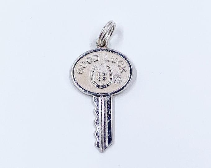 Vintage Silver Good Luck Key Charm | White Enamel Key Charm | Silver Horseshoe Clover Charm