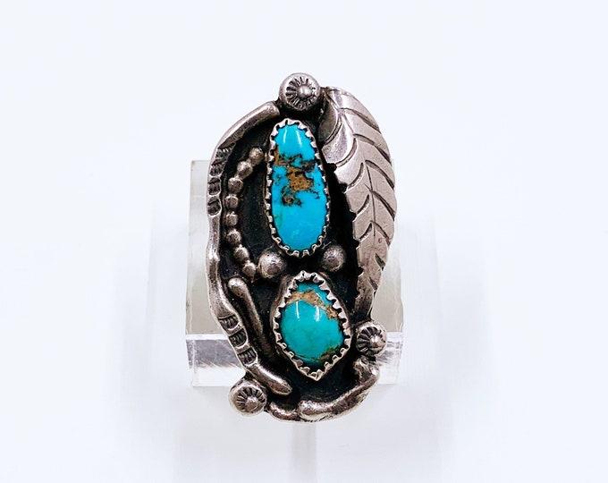 Vintage Silver Turquoise Two Stone Ring   Juan Pedro Garcia Large Ring    Santo Domingo Pueblo   Size 6