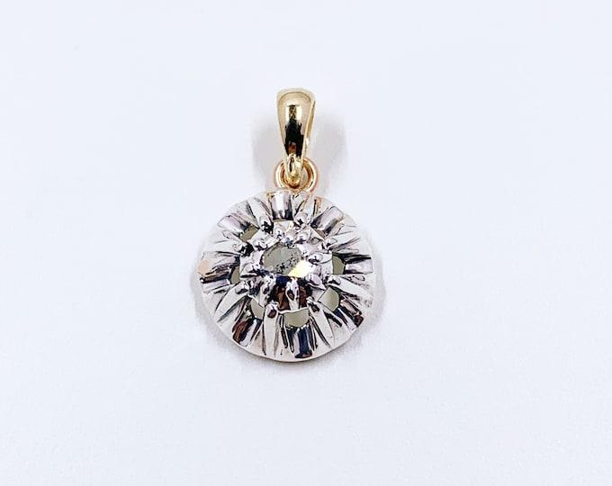 Antique Georgian Solitaire Diamond Pendant Conversion |  Antique Rose Cut Diamond Pendant