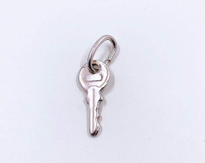 Vintage Silver Key Charm | Tiny Door Key Charm | Small Key Charm