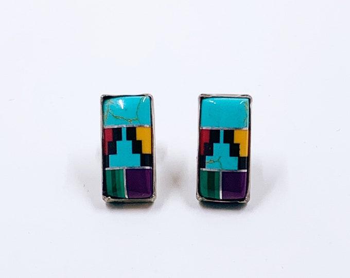 Vintage Silver Inlay Stud Earrings | Multi-stone Inlay Studs | Southwest Multicolor Inlay Earrings