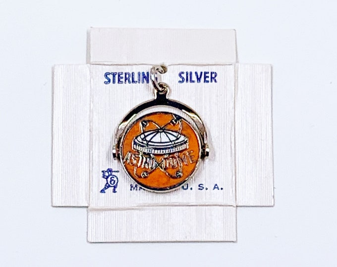 Vintage Sterling Astrodome Charm | Sterling Silver & Enamel Houston Astrodome Spinner Charm
