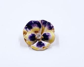 Antique Art Nouveau Pansy and Diamond Brooch   14k Gold Enamel Pansy Flower Brooch