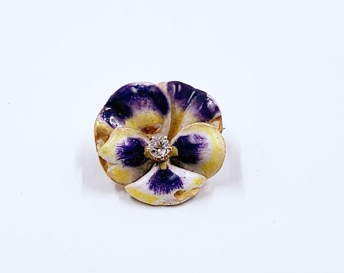 Antique Art Nouveau Pansy and Diamond Brooch | 14k Gold Enamel Pansy Flower Brooch