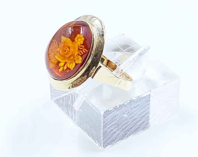 Vintage Gold Carved Amber Ring | 14K Gold Amber Rose Cameo Ring | Size 8